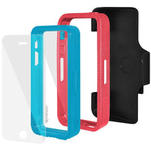 Load image into Gallery viewer, AMZER CRUSTA Rugged Case Pale Red on Blue Shell Tempered Glass with Holster for iPhone 5