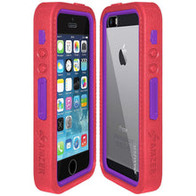 Load image into Gallery viewer, AMZER CRUSTA Rugged Case Pale Red on Purple Shell Tempered Glass with Holster for iPhone 5