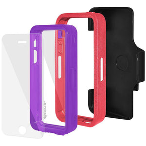 AMZER CRUSTA Rugged Case Pale Red on Purple Shell Tempered Glass with Holster for iPhone 5