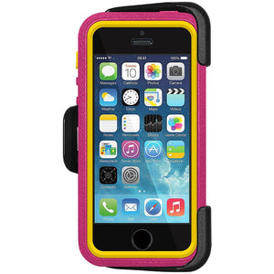 AMZER CRUSTA Rugged Case Magenta on Yellow Shell Tempered Glass with Holster for iPhone 5