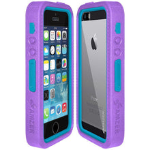 Load image into Gallery viewer, AMZER CRUSTA Rugged Case Purple on Blue Shell Tempered Glass with Holster for iPhone 5