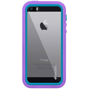 AMZER CRUSTA Rugged Case Purple on Blue Shell Tempered Glass with Holster for iPhone 5