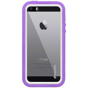 AMZER CRUSTA Rugged Case Purple on White Shell Tempered Glass with Holster for iPhone 5