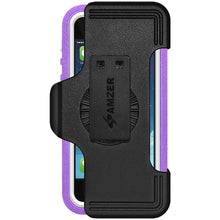 Load image into Gallery viewer, AMZER CRUSTA Rugged Case Purple on White Shell Tempered Glass with Holster for iPhone 5