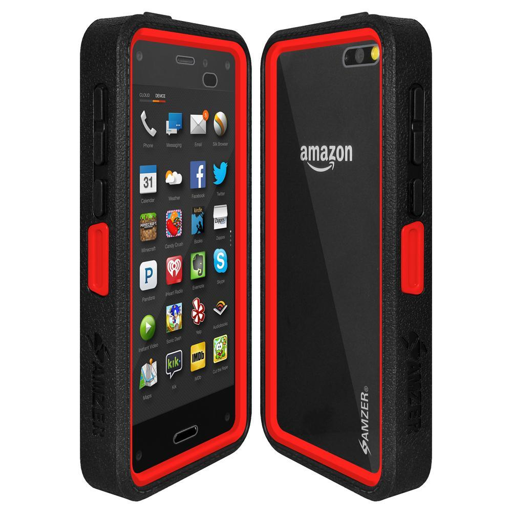 AMZER CRUSTA Rugged Case Black on Red Shell Tempered Glass with Holster for Amazon Fire Phone