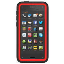 Load image into Gallery viewer, AMZER CRUSTA Rugged Case Black on Red Shell Tempered Glass with Holster for Amazon Fire Phone