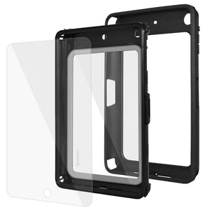 AMZER CRUSTA Rugged Case Black on Black Shell Tempered Glass for Apple iPad mini