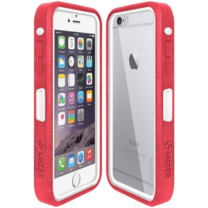 AMZER CRUSTA Rugged Case Pale Red on White Shell With Tempered Glass for iPhone 6 Plus