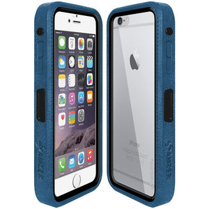 AMZER CRUSTA Rugged Case Blue on Black Shell With Tempered Glass for iPhone 6 Plus