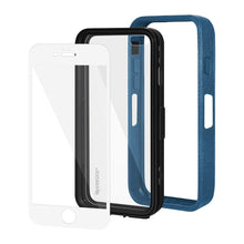 Load image into Gallery viewer, AMZER CRUSTA Rugged Case Blue on Black Shell With Tempered Glass for iPhone 6 Plus