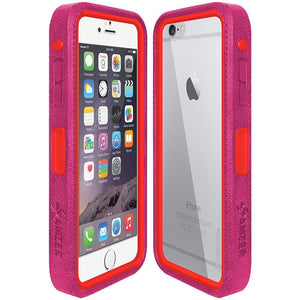 AMZER CRUSTA Rugged Case Magenta on Red Shell With Tempered Glass for iPhone 6 Plus