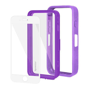 AMZER CRUSTA Rugged Case Purple on Purple Shell With Tempered Glass for iPhone 6 Plus