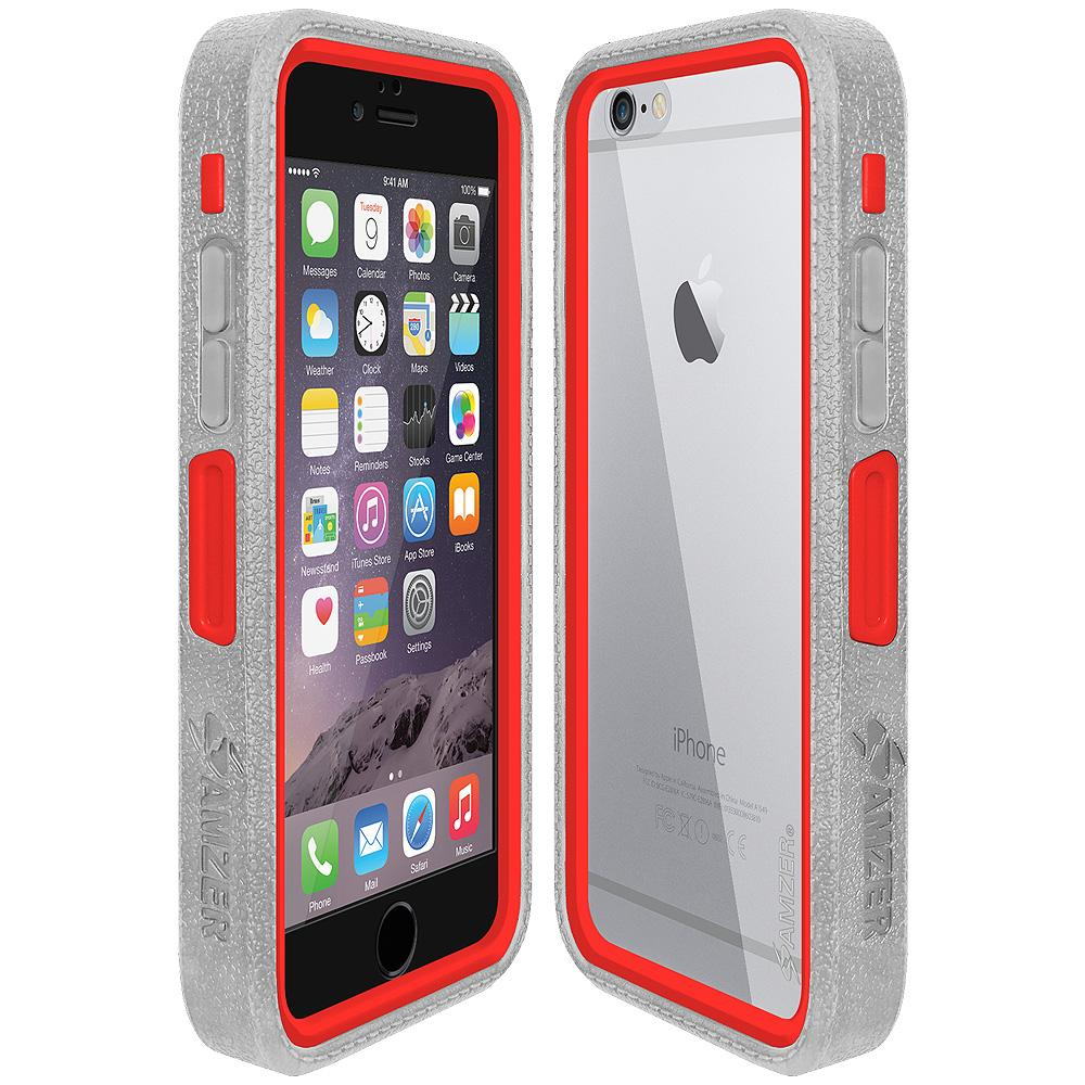 Amzer CRUSTA™ Rugged Case Grey on Red Shell with Tempered Glass for iPhone 6s, iPhone 6