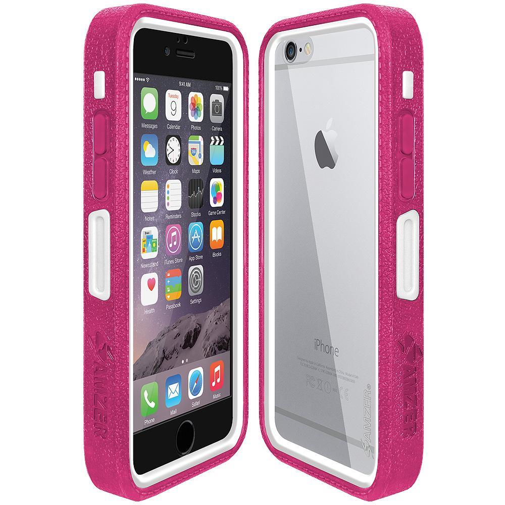AMZER CRUSTA Rugged Case Magenta on White Shell with Tempered Glass for iPhone 6