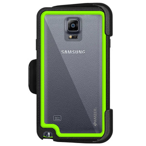 AMZER CRUSTA Rugged Case Black on Green Shell Tempered Glass with Holster for Samsung GALAXY Note 4 SM-N910