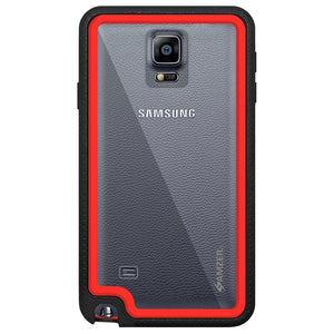 AMZER CRUSTA Rugged Case Black on Red Shell Tempered Glass with Holster for Samsung GALAXY Note 4 SM-N910