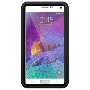 AMZER CRUSTA Rugged Case Black on Black Shell Tempered Glass with Holster for Samsung GALAXY Note 4 SM-N910