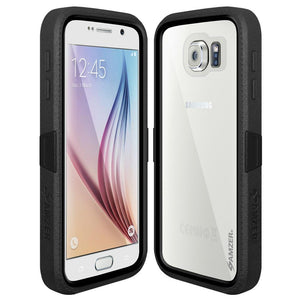 AMZER CRUSTA Rugged Case Black on Black Shell Tempered Glass with Holster for Samsung Galaxy S6 SM-G920F