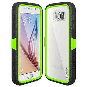 AMZER CRUSTA Rugged Case Black on Green Shell Tempered Glass with Holster for Samsung Galaxy S6 SM-G920F