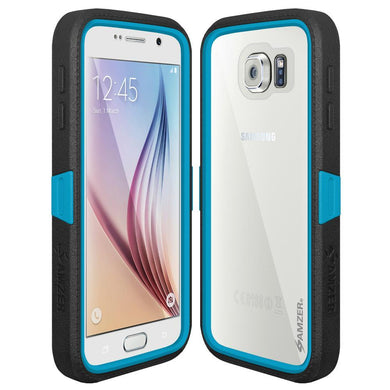 AMZER CRUSTA Rugged Case Black on Blue Shell Tempered Glass with Holster for Samsung Galaxy S6 SM-G920F
