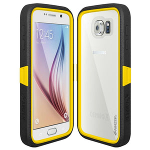 AMZER CRUSTA Rugged Case Black on Yellow Shell Tempered Glass with Holster for Samsung Galaxy S6 SM-G920F