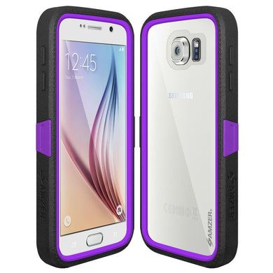 AMZER CRUSTA Rugged Case Black on Purple Shell Tempered Glass with Holster for Samsung Galaxy S6 SM-G920F