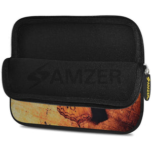AMZER 10.5 Inch Neoprene Zipper Sleeve Pouch Tablet Bag - Butterfly Map