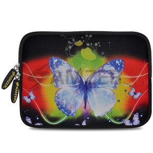AMZER 7.75 Inch Neoprene Zipper Sleeve Pouch Tablet Bag - Caribbean Butterfly