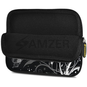 AMZER 7.75 Inch Neoprene Zipper Sleeve Pouch Tablet Bag - Black Butterfly