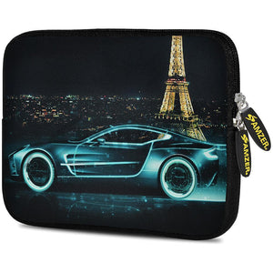 AMZER 7.75 Inch Neoprene Zipper Sleeve Pouch Tablet Bag - Racer Accent