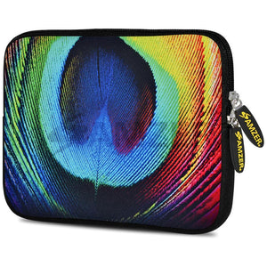 AMZER 7.75 Inch Neoprene Zipper Sleeve Pouch Tablet Bag - Peacock Close-up