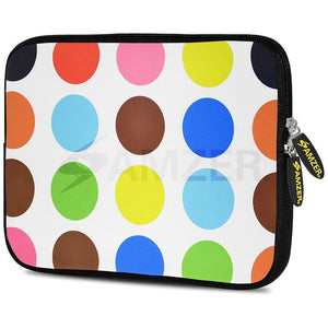 AMZER 7.75 Inch Neoprene Zipper Sleeve Pouch Tablet Bag - Colour Circles