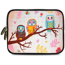 Load image into Gallery viewer, AMZER 7.75 Inch Neoprene Zipper Sleeve Pouch Tablet Bag - Owls on Branch