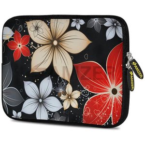 AMZER 7.75 Inch Neoprene Zipper Sleeve Tablet Pouch - Wildflowers Red & White