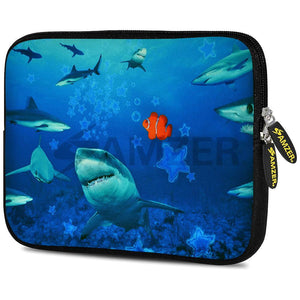 AMZER 10.5 Inch Neoprene Zipper Sleeve Pouch Tablet Bag - Sharks Around