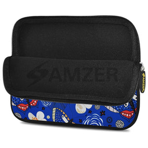 AMZER 10.5 Inch Neoprene Zipper Sleeve Pouch Tablet Bag - Blue Bloom Dragonfly