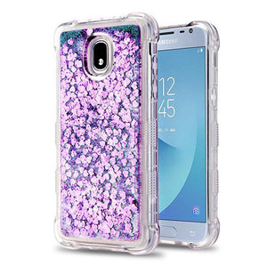 AMZER® TUFFEN Quicksand Glitter Lite Hybrid Protector Cover - Purple Hearts for Samsung Galaxy J3 2018