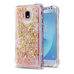 AMZER® TUFFEN Quicksand Glitter Lite Hybrid Protector Cover - Pink Stars for Samsung Galaxy J3 2018