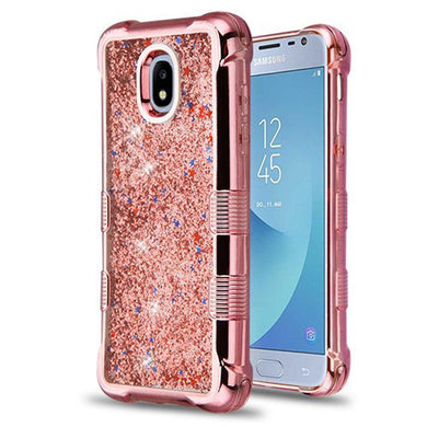 AMZER® TUFFEN Quicksand Glitter Lite Hybrid Protector Cover - Rose Gold Electroplating/Rose Gold Flowing Sparkles for Samsung Galaxy J3 2018