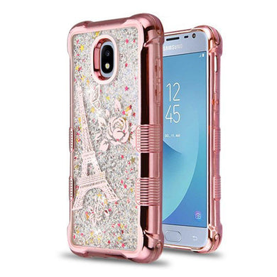 AMZER® TUFFEN Quicksand Glitter Lite Hybrid Protector Cover - Rose Gold Electroplating/Eiffel Tower/Silver Flowing Sparkles for Samsung Galaxy J3 2018