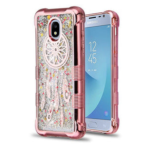 AMZER® TUFFEN Quicksand Glitter Lite Hybrid Protector Cover - Rose Gold/Dreamcatcher/Silver Sparkles for Samsung Galaxy J3 2018