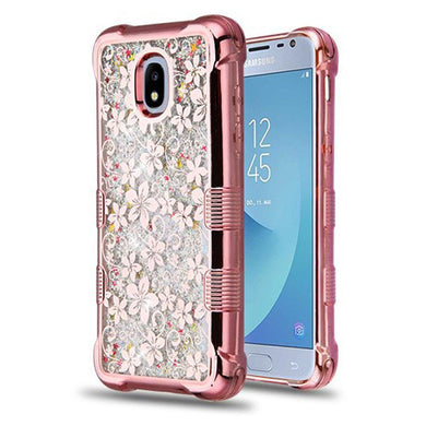 AMZER® TUFFEN Quicksand Glitter Lite Hybrid Protector Cover - Rose Gold Electroplating/Hibiscus Flower/Silver Flowing Sparkles for Samsung Galaxy J3 2018
