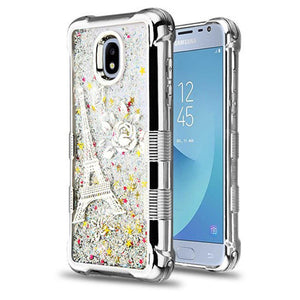 AMZER® TUFFEN Quicksand Glitter Lite Hybrid Protector Cover - Silver Electroplating/Eiffel Tower/Silver Flowing Sparkles for Samsung Galaxy J3 2018