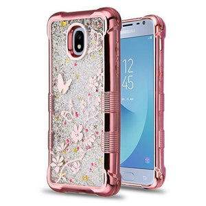 AMZER® TUFFEN Quicksand Glitter Lite Hybrid Protector Cover - Rose Gold/Butterflies Silver Flowing Sparkles for Samsung Galaxy J3 2018