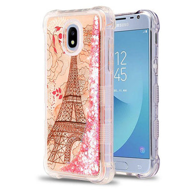 AMZER® TUFFEN Quicksand Glitter Lite Hybrid Protector Cover - Eiffel Tower/Pink Hearts for Samsung Galaxy J3 2018