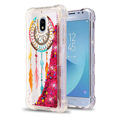 AMZER® TUFFEN Quicksand Glitter Lite Hybrid Protector Cover - Dreamcatcher/Hot Pink Flowing Sparkles for Samsung Galaxy J3 2018