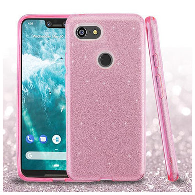 AMZER® Full Glitter Hybrid Protector Cover - Pink for Google Pixel 3 XL