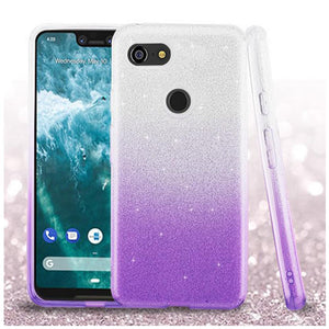 AMZER® Glitter Hybrid Protector Cover - Purple Gradient for Google Pixel 3 XL