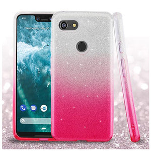 AMZER® Glitter Hybrid Protector Cover - Pink Gradient for Google Pixel 3 XL