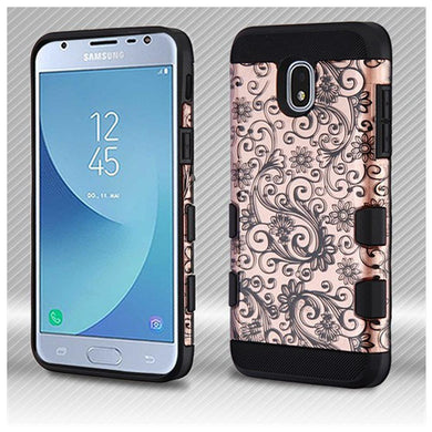 AMZER® TUFFEN Trooper Hybrid Protector Cover - Black Four-Leaf Clover (2D Rose Gold)/Black for Samsung Galaxy J3 2018